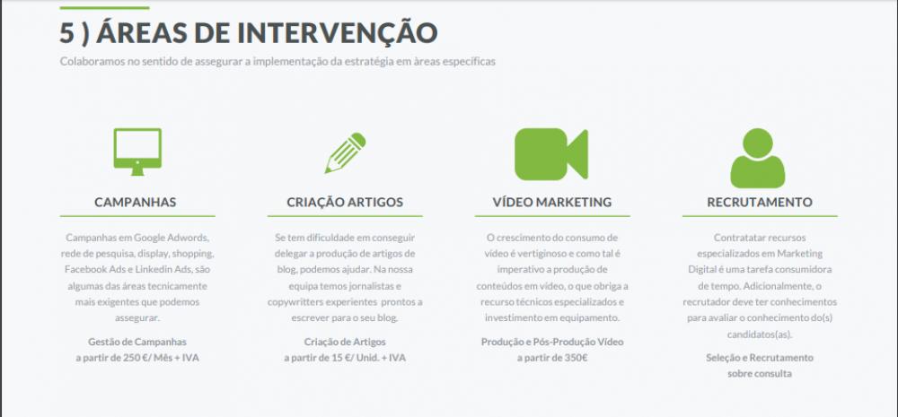 ÁREAS DE INTERVENÇÃO DE AÇÕES DE MARKETING DIGITAL